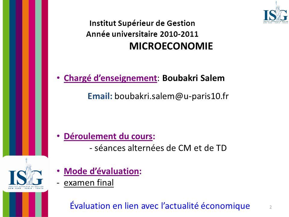 3 Plan du cours de microéconomie Introduction à la Microéconomie Le Comportement de lAgent Représentatif CHAPITRE 1.