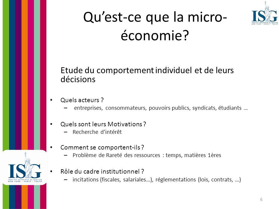 7 En dautres termes La micro-économie étudie comment les acteurs gèrent la contrainte de rareté et les conséquences de leurs décisions sur le marché ou le système économique.
