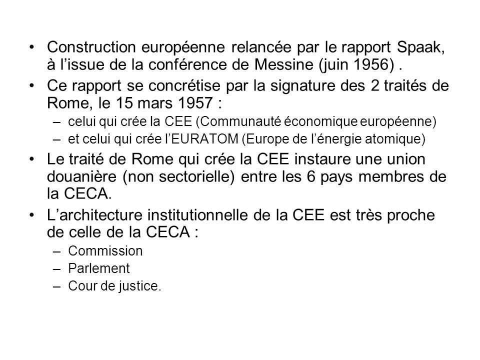 Construction européenne relancée par le rapport Spaak, à lissue de la conférence de Messine (juin 1956). Ce rapport se concrétise par la signature des