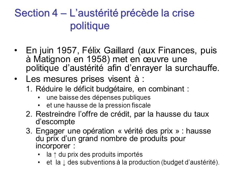 Section 4 – Laustérité précède la crise politique En juin 1957, Félix Gaillard (aux Finances, puis à Matignon en 1958) met en œuvre une politique daus