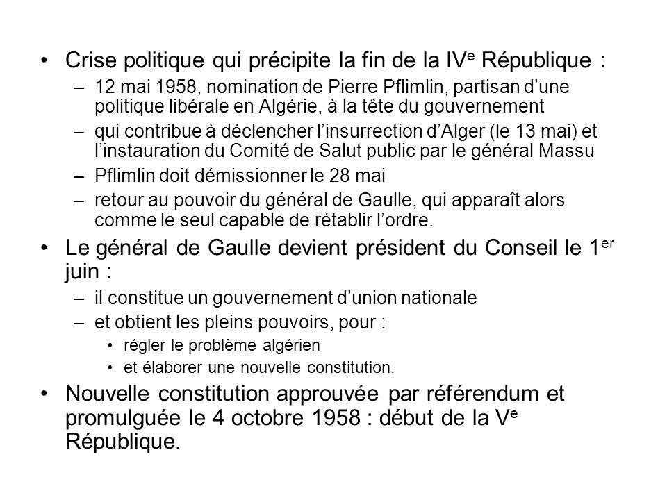 Crise politique qui précipite la fin de la IV e République : –12 mai 1958, nomination de Pierre Pflimlin, partisan dune politique libérale en Algérie,