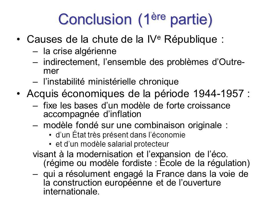 Conclusion (1 ère partie) Causes de la chute de la IV e République : –la crise algérienne –indirectement, lensemble des problèmes dOutre- mer –linstab