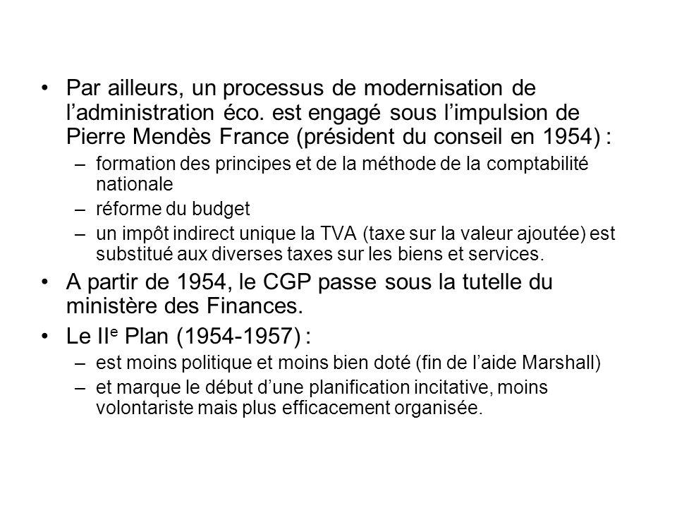Par ailleurs, un processus de modernisation de ladministration éco. est engagé sous limpulsion de Pierre Mendès France (président du conseil en 1954)