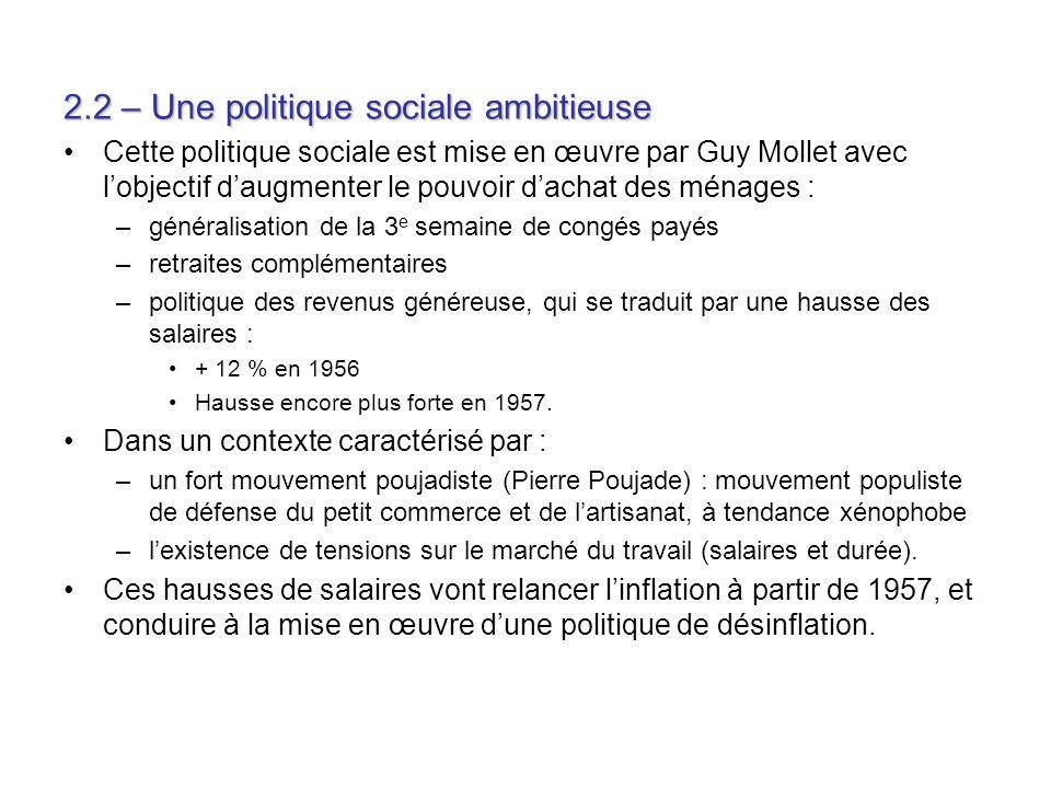 2.2 – Une politique sociale ambitieuse Cette politique sociale est mise en œuvre par Guy Mollet avec lobjectif daugmenter le pouvoir dachat des ménage