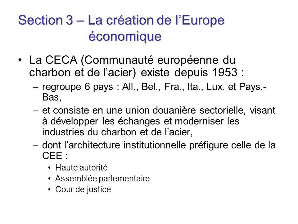 Section 3 – La création de lEurope économique La CECA (Communauté européenne du charbon et de lacier) existe depuis 1953 : –regroupe 6 pays : All., Be