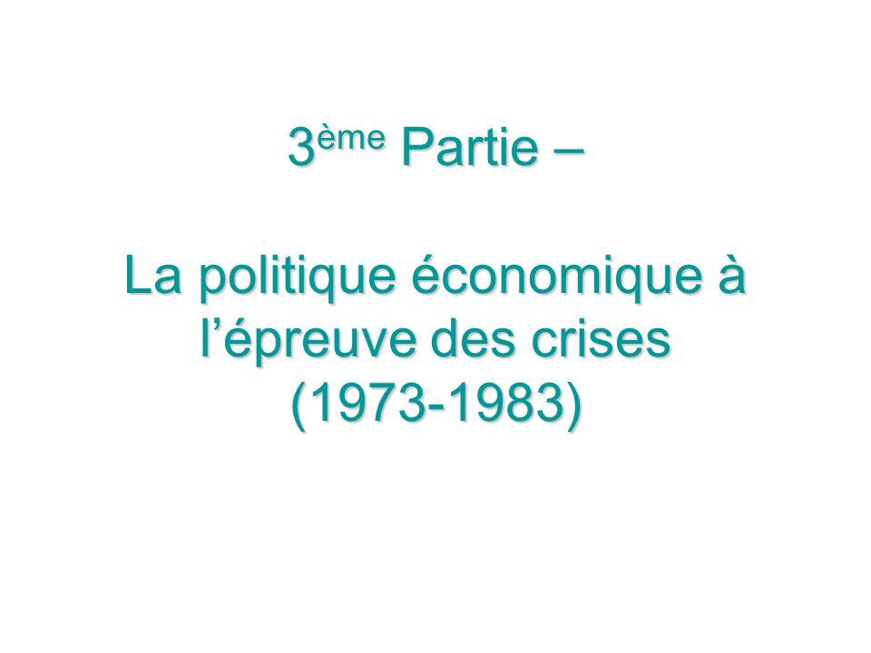 3 ème Partie – La politique économique à lépreuve des crises (1973-1983)