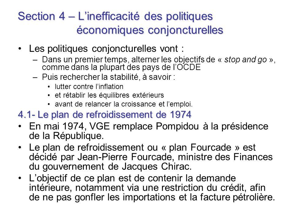 Section 4 – Linefficacité des politiques économiques conjoncturelles Les politiques conjoncturelles vont : –Dans un premier temps, alterner les object