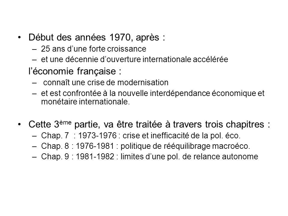 Début des années 1970, après : –25 ans dune forte croissance –et une décennie douverture internationale accélérée léconomie française : – connaît une