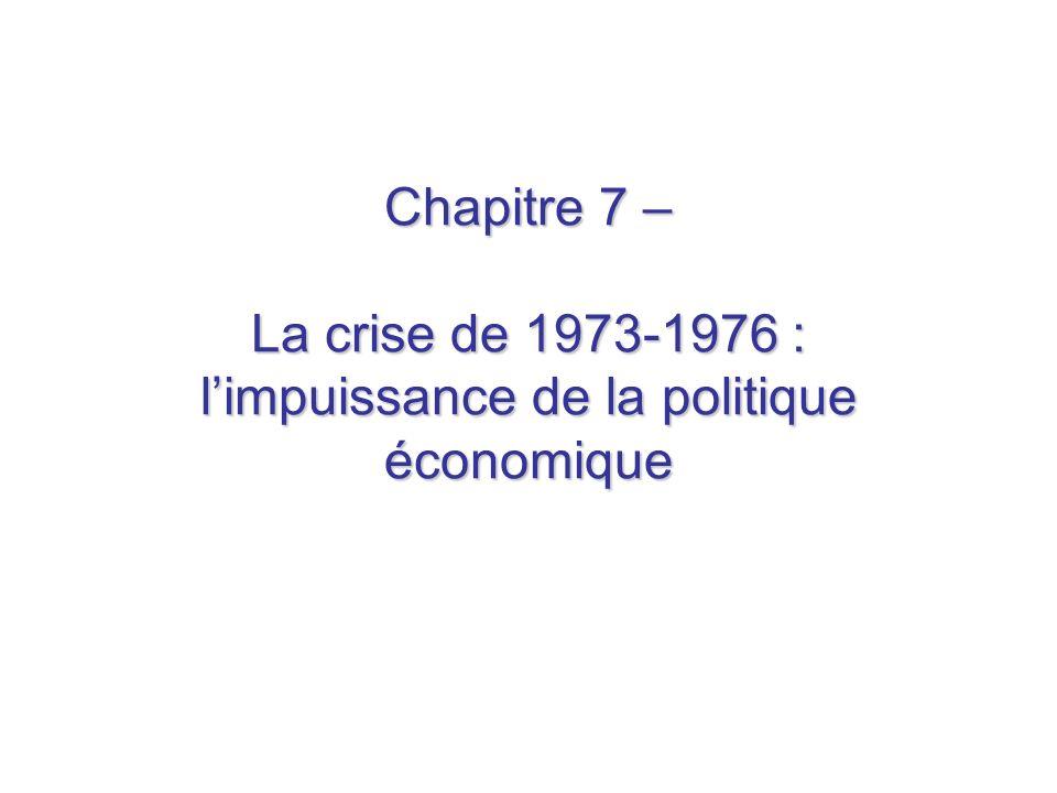 Chapitre 7 – La crise de 1973-1976 : limpuissance de la politique économique