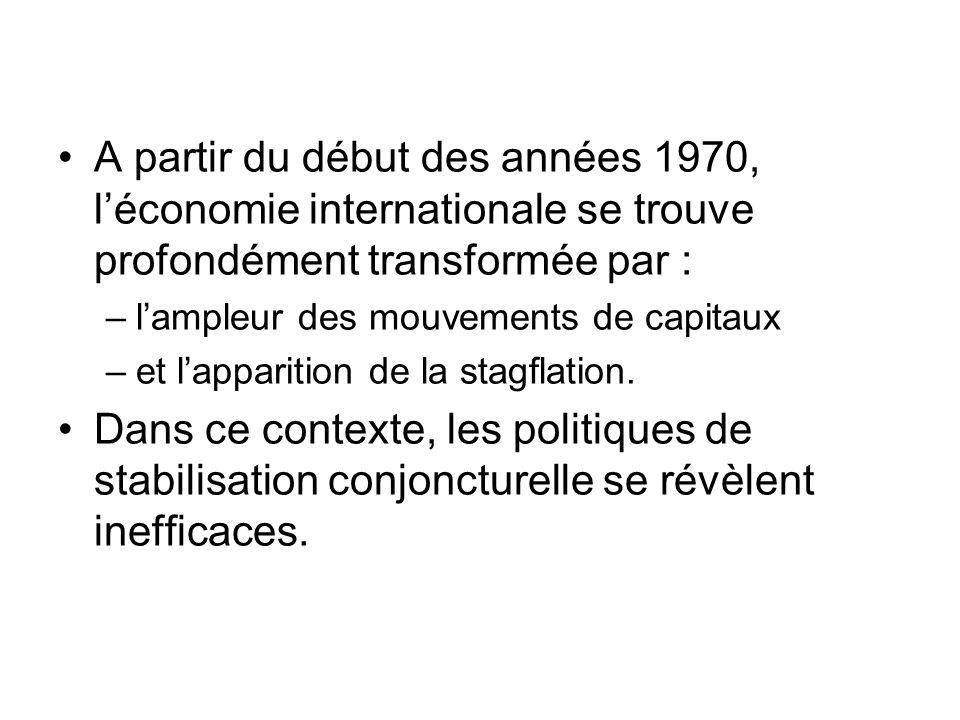 A partir du début des années 1970, léconomie internationale se trouve profondément transformée par : –lampleur des mouvements de capitaux –et lapparit