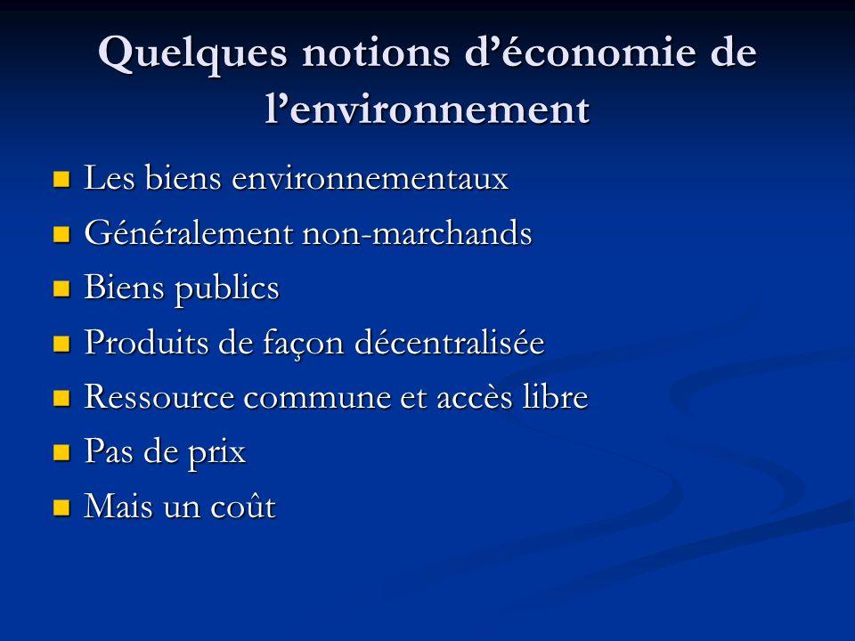 Eléments de bibliographie B. Desaigues, P. Point : Economie du patrimoine naturel, Economica, 1993 B. Desaigues, P. Point : Economie du patrimoine nat