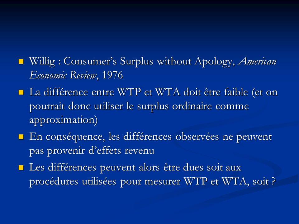 Pourquoi WTA et WTP divergent- ils? Les différences observées peuvent provenir deffets de revenu Les différences observées peuvent provenir deffets de