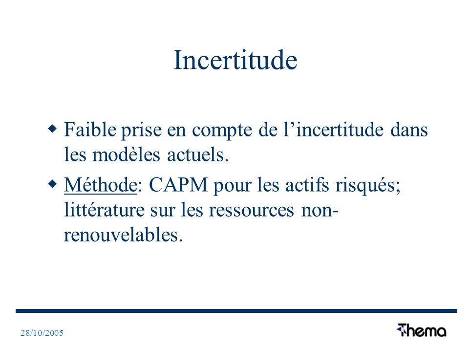 28/10/2005 Incertitude Faible prise en compte de lincertitude dans les modèles actuels. Méthode: CAPM pour les actifs risqués; littérature sur les res