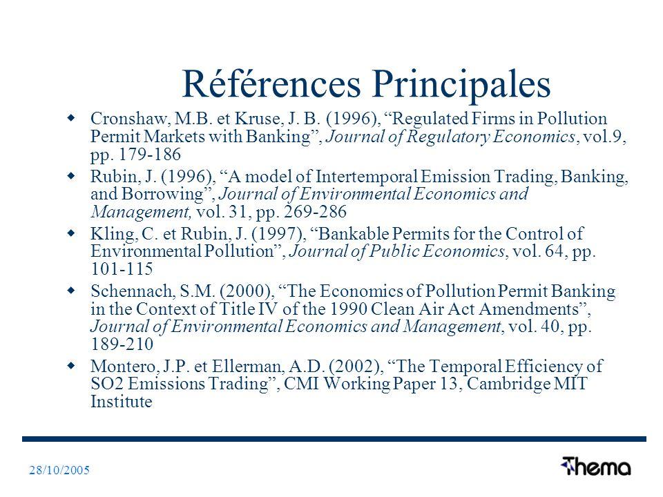 28/10/2005 Références Principales Cronshaw, M.B. et Kruse, J.