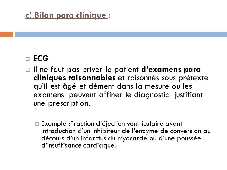 c) Bilan para clinique : ECG Il ne faut pas priver le patient dexamens para cliniques raisonnables et raisonnés sous prétexte quil est âgé et dément d