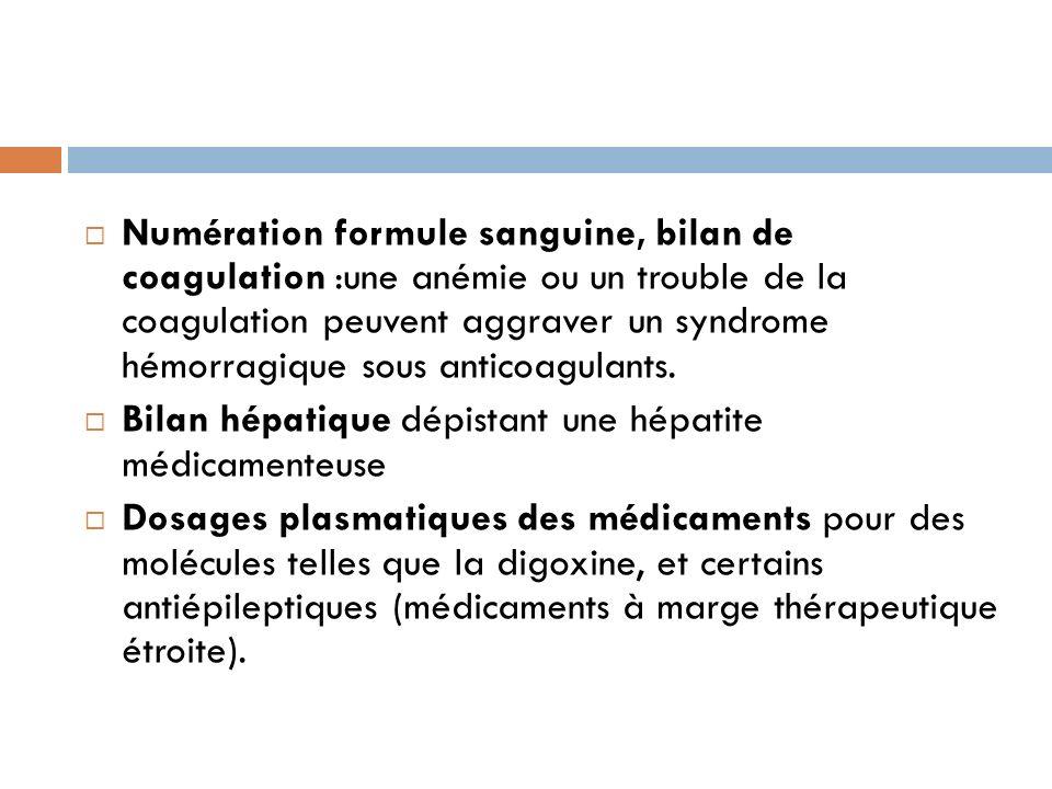 Numération formule sanguine, bilan de coagulation :une anémie ou un trouble de la coagulation peuvent aggraver un syndrome hémorragique sous anticoagu