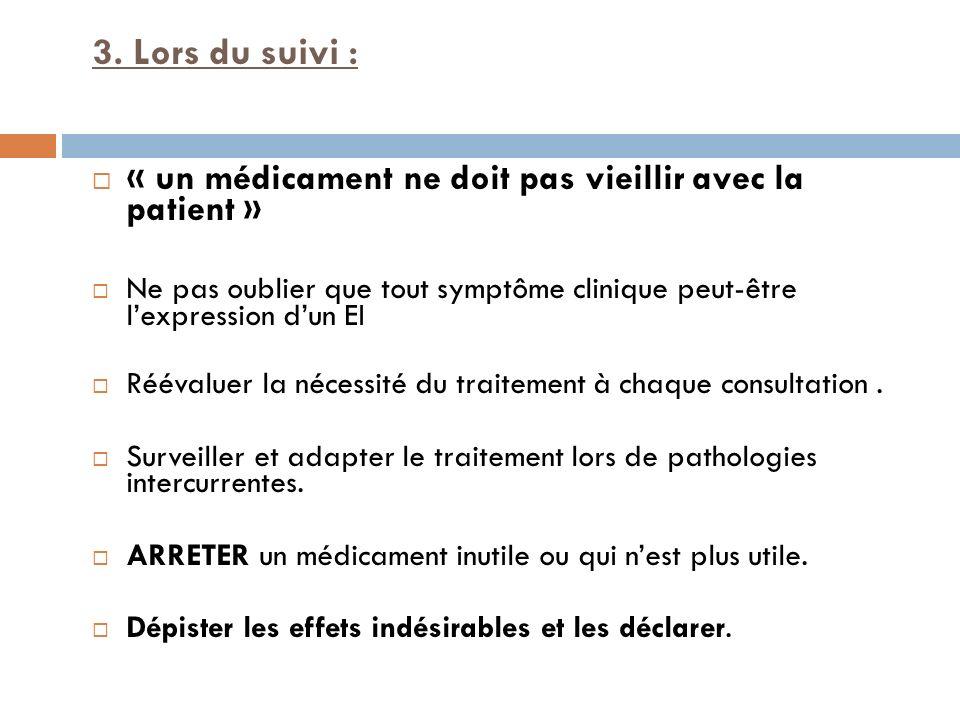 3. Lors du suivi : « un médicament ne doit pas vieillir avec la patient » Ne pas oublier que tout symptôme clinique peut-être lexpression dun EI Rééva