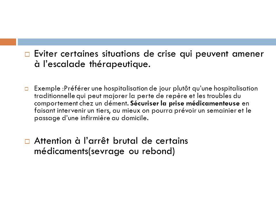 Eviter certaines situations de crise qui peuvent amener à lescalade thérapeutique. Exemple :Préférer une hospitalisation de jour plutôt quune hospital