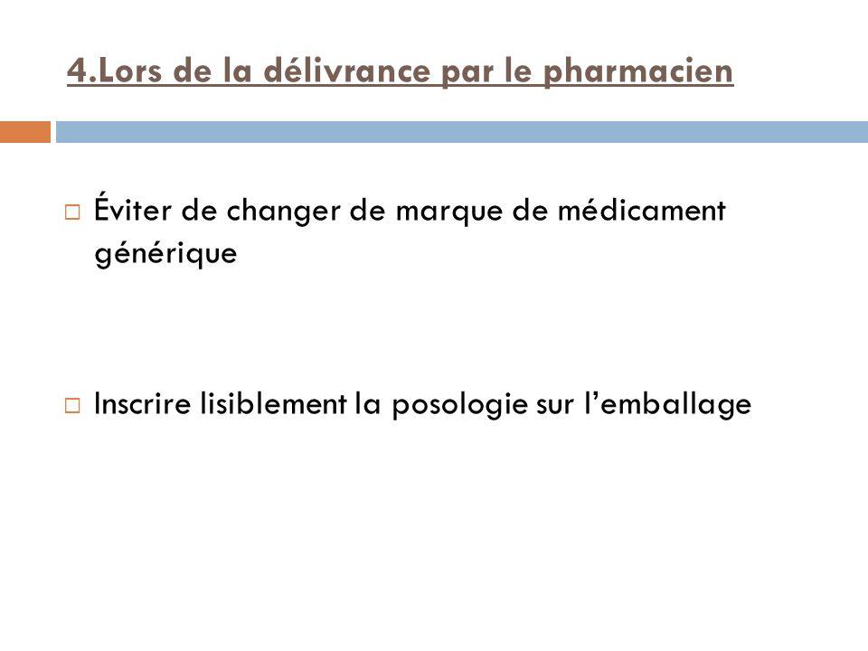 4.Lors de la délivrance par le pharmacien Éviter de changer de marque de médicament générique Inscrire lisiblement la posologie sur lemballage
