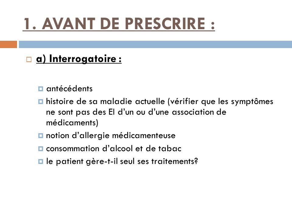1. AVANT DE PRESCRIRE : a) Interrogatoire : antécédents histoire de sa maladie actuelle (vérifier que les symptômes ne sont pas des EI dun ou dune ass