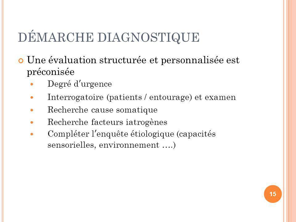 DÉMARCHE DIAGNOSTIQUE Une évaluation structurée et personnalisée est préconisée Degré durgence Interrogatoire (patients / entourage) et examen Recherc