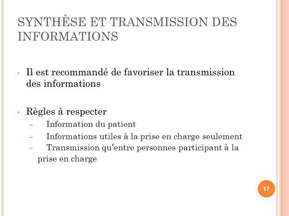 SYNTHÈSE ET TRANSMISSION DES INFORMATIONS Il est recommandé de favoriser la transmission des informations Règles à respecter – Information du patient
