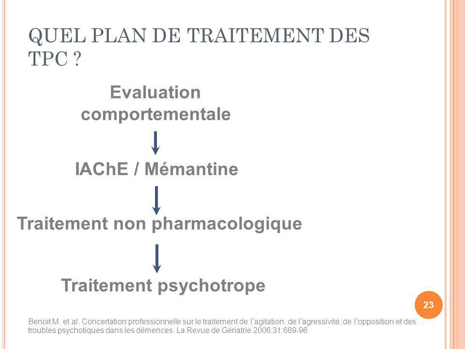 Evaluation comportementale IAChE / Mémantine Traitement non pharmacologique Traitement psychotrope QUEL PLAN DE TRAITEMENT DES TPC ? Benoit M. et al.