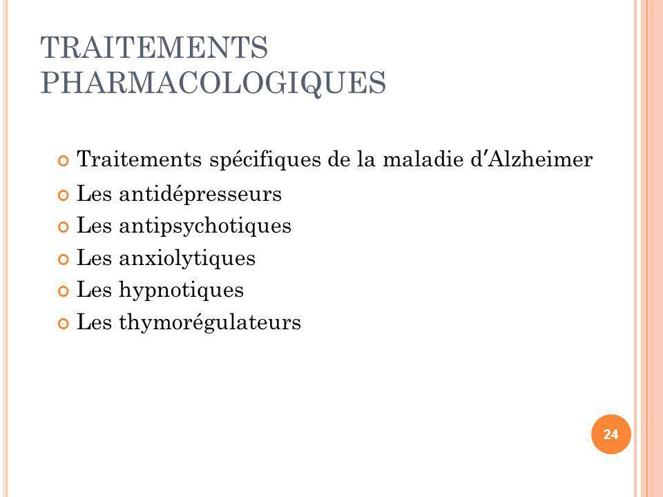 TRAITEMENTS PHARMACOLOGIQUES Traitements spécifiques de la maladie dAlzheimer Les antidépresseurs Les antipsychotiques Les anxiolytiques Les hypnotiqu