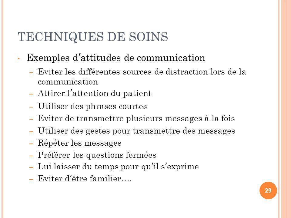 TECHNIQUES DE SOINS Exemples dattitudes de communication – Eviter les différentes sources de distraction lors de la communication – Attirer lattention