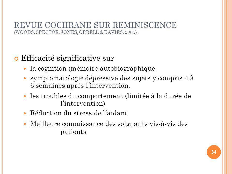 REVUE COCHRANE SUR REMINISCENCE (WOODS, SPECTOR, JONES, ORRELL & DAVIES, 2005) : Efficacité significative sur la cognition (mémoire autobiographique s