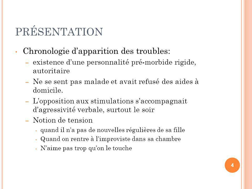 PRÉSENTATION Chronologie dapparition des troubles: – existence dune personnalité pré-morbide rigide, autoritaire existence dune personnalité pré-morbi