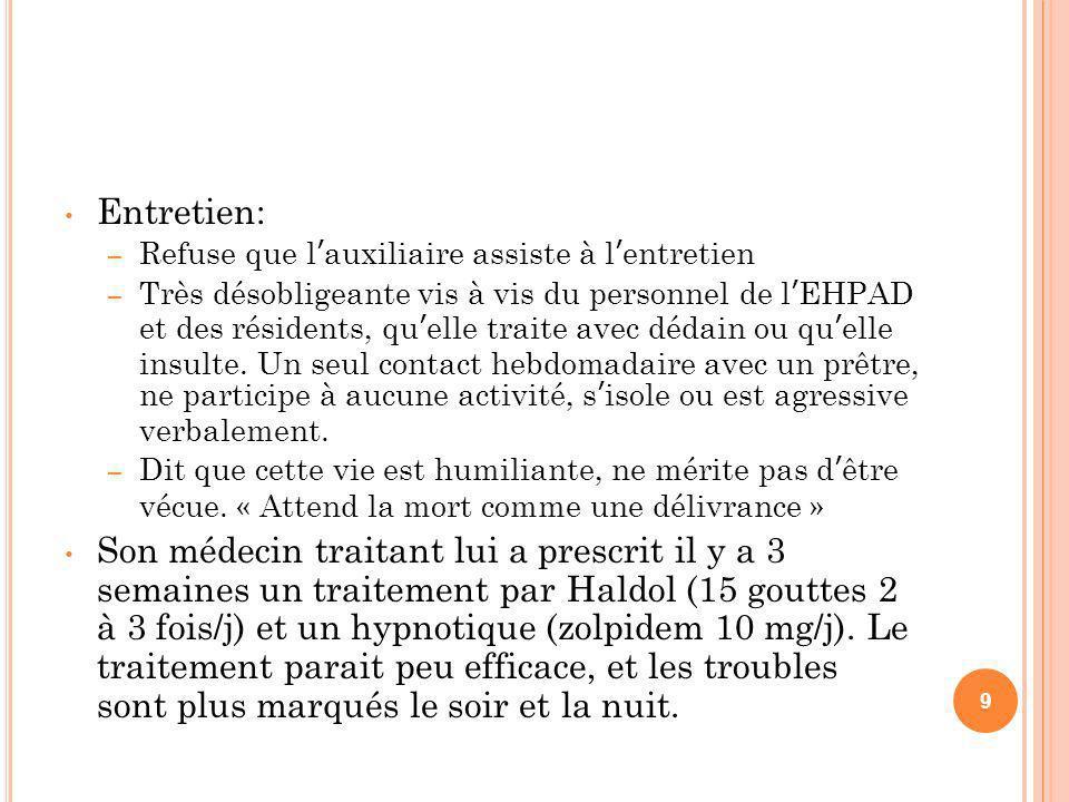 Entretien: – Refuse que lauxiliaire assiste à lentretien – Très désobligeante vis à vis du personnel de lEHPAD et des résidents, quelle traite avec dé
