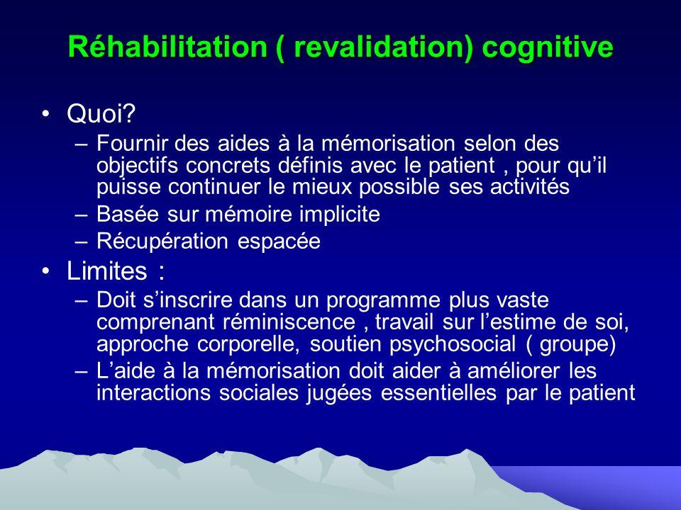 Réhabilitation ( revalidation) cognitive Quoi? –Fournir des aides à la mémorisation selon des objectifs concrets définis avec le patient, pour quil pu