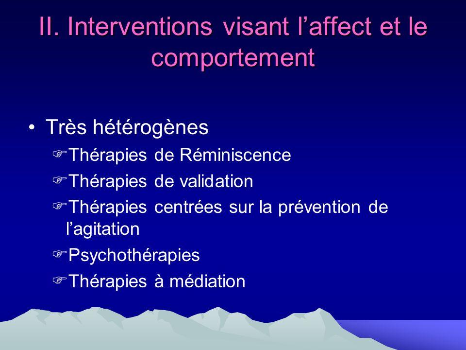 II. Interventions visant laffect et le comportement Très hétérogènes Thérapies de Réminiscence Thérapies de validation Thérapies centrées sur la préve