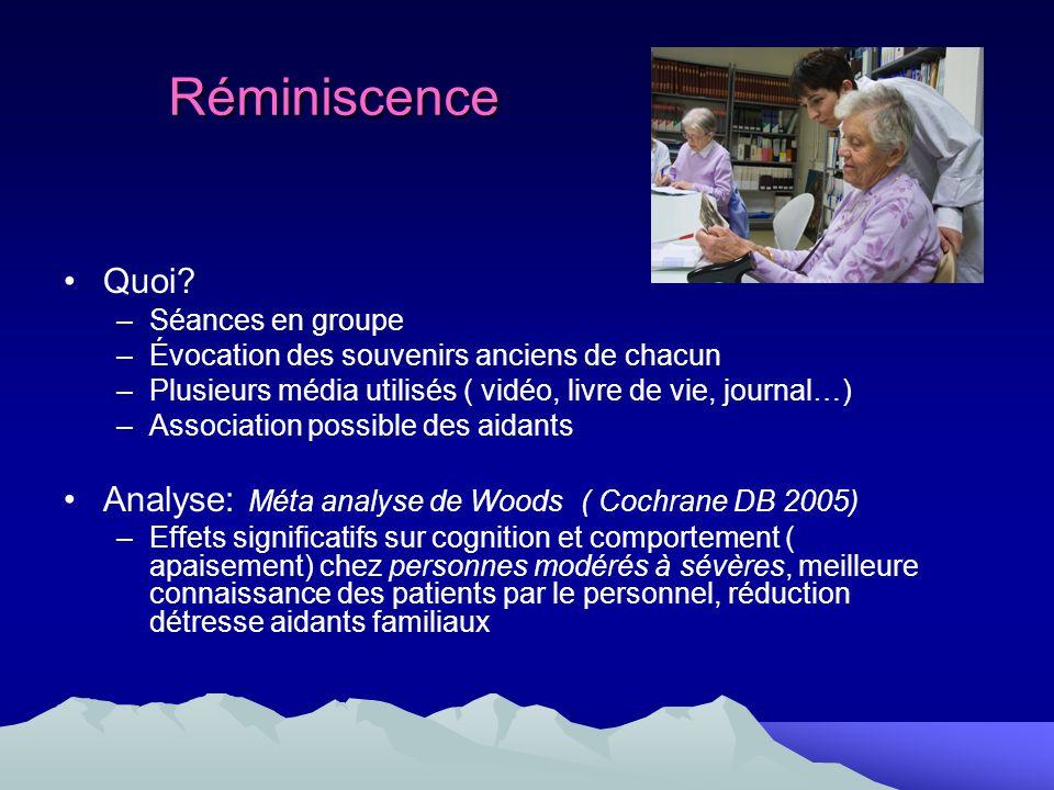 Réminiscence Quoi? –Séances en groupe –Évocation des souvenirs anciens de chacun –Plusieurs média utilisés ( vidéo, livre de vie, journal…) –Associati