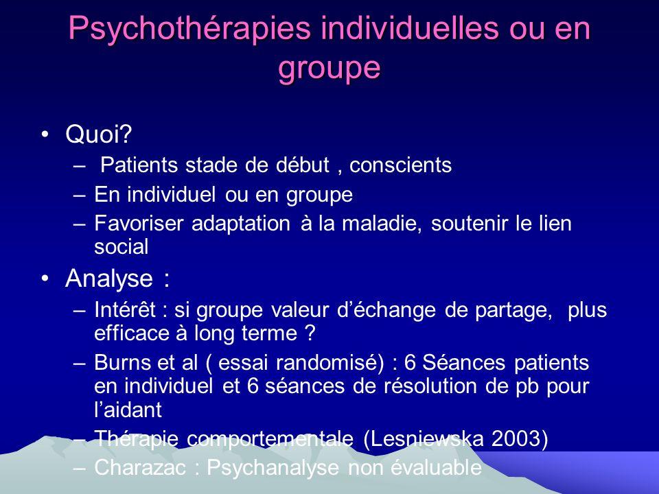 Psychothérapies individuelles ou en groupe Quoi? – Patients stade de début, conscients –En individuel ou en groupe –Favoriser adaptation à la maladie,
