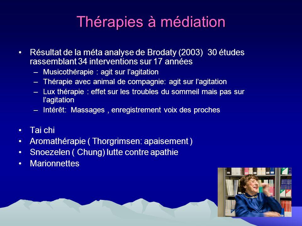 Thérapies à médiation Résultat de la méta analyse de Brodaty (2003) 30 études rassemblant 34 interventions sur 17 années –Musicothérapie : agit sur la