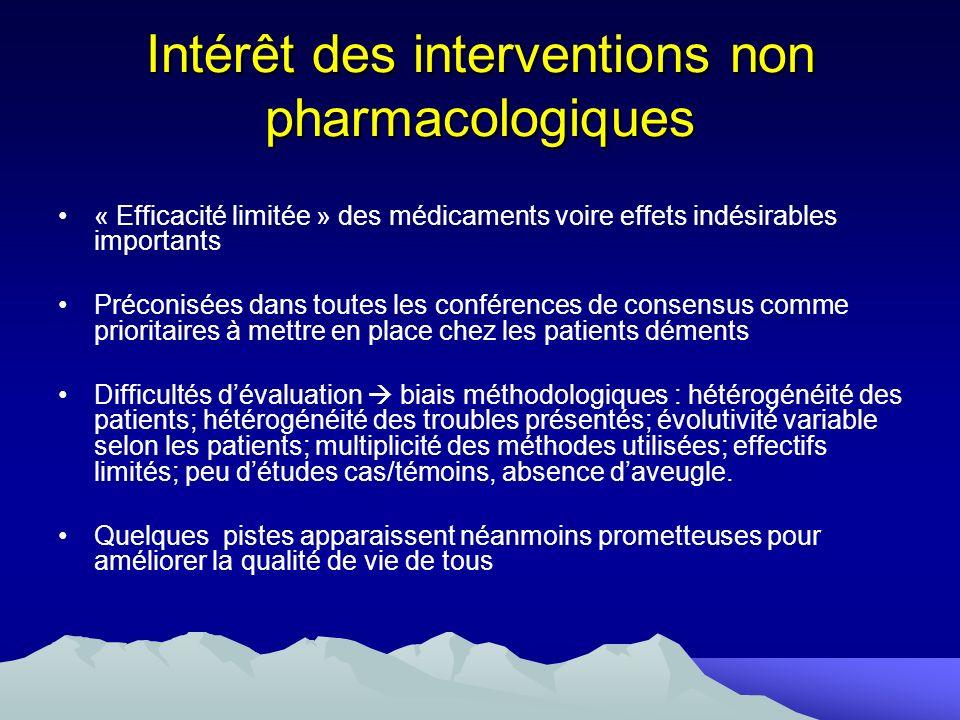 Intérêt des interventions non pharmacologiques « Efficacité limitée » des médicaments voire effets indésirables importants Préconisées dans toutes les