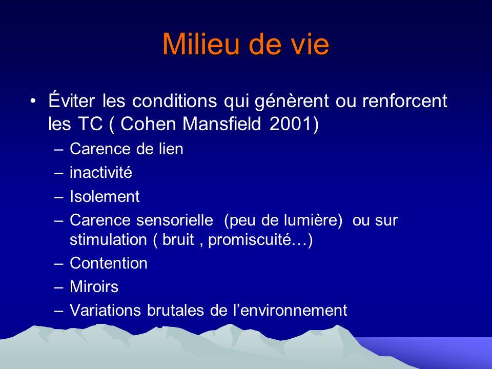 Milieu de vie Éviter les conditions qui génèrent ou renforcent les TC ( Cohen Mansfield 2001) –Carence de lien –inactivité –Isolement –Carence sensori