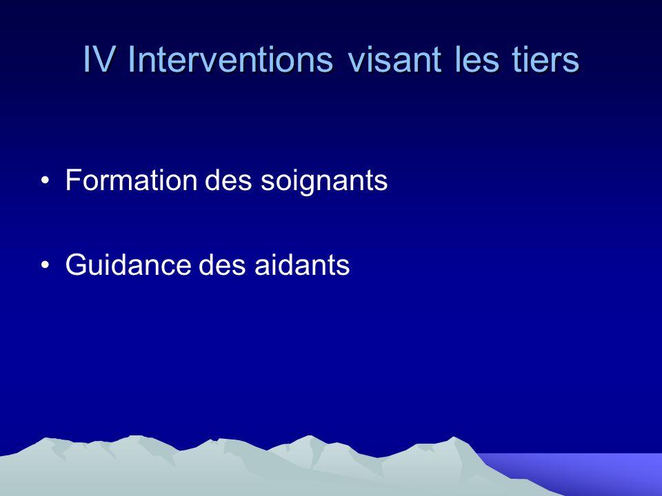 IV Interventions visant les tiers Formation des soignants Guidance des aidants