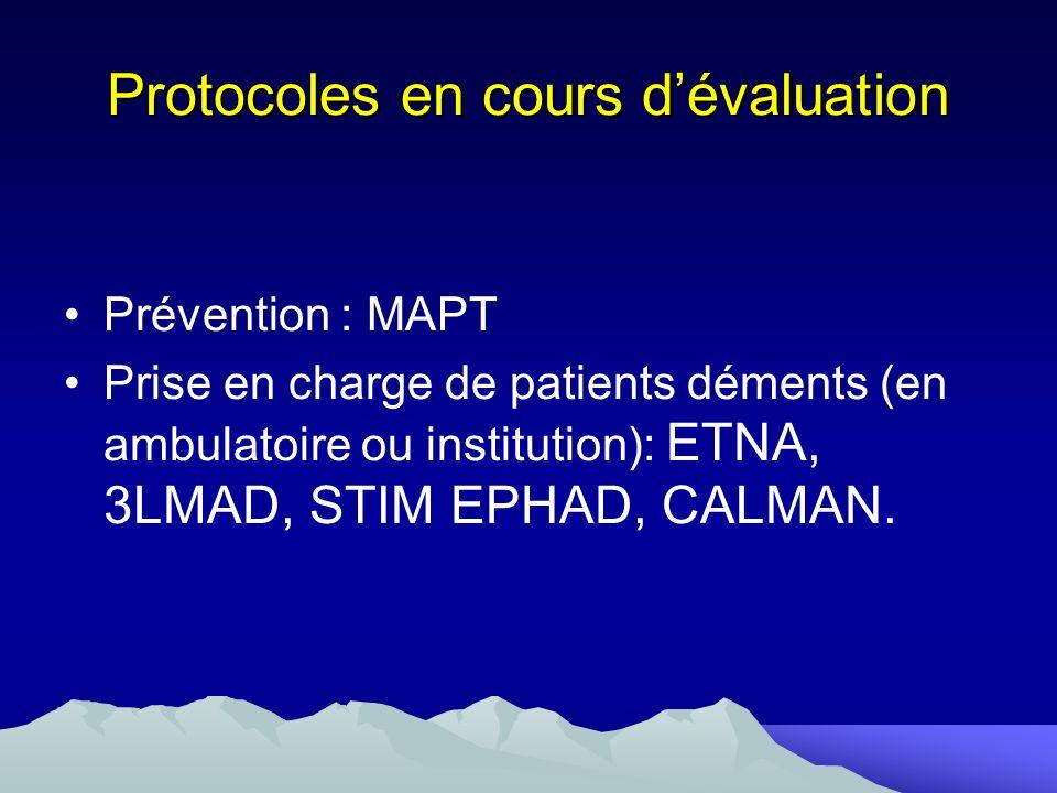 Protocoles en cours dévaluation Prévention : MAPT Prise en charge de patients déments (en ambulatoire ou institution): ETNA, 3LMAD, STIM EPHAD, CALMAN