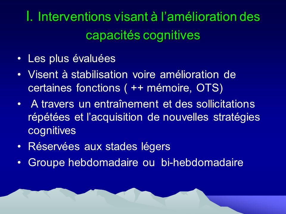 I. Interventions visant à lamélioration des capacités cognitives Les plus évaluées Visent à stabilisation voire amélioration de certaines fonctions (