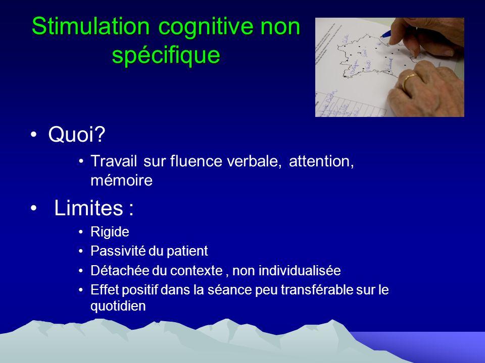 Stimulation cognitive non spécifique Quoi? Travail sur fluence verbale, attention, mémoire Limites : Rigide Passivité du patient Détachée du contexte,
