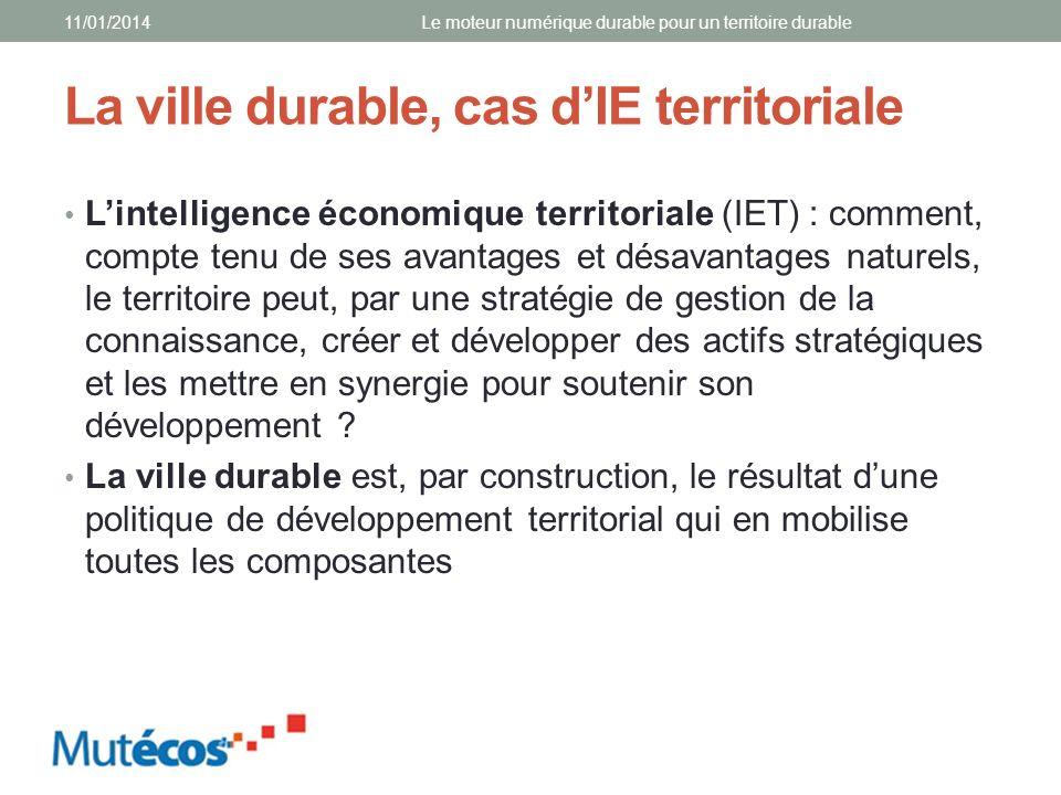 La ville durable, cas dIE territoriale Lintelligence économique territoriale (IET) : comment, compte tenu de ses avantages et désavantages naturels, l