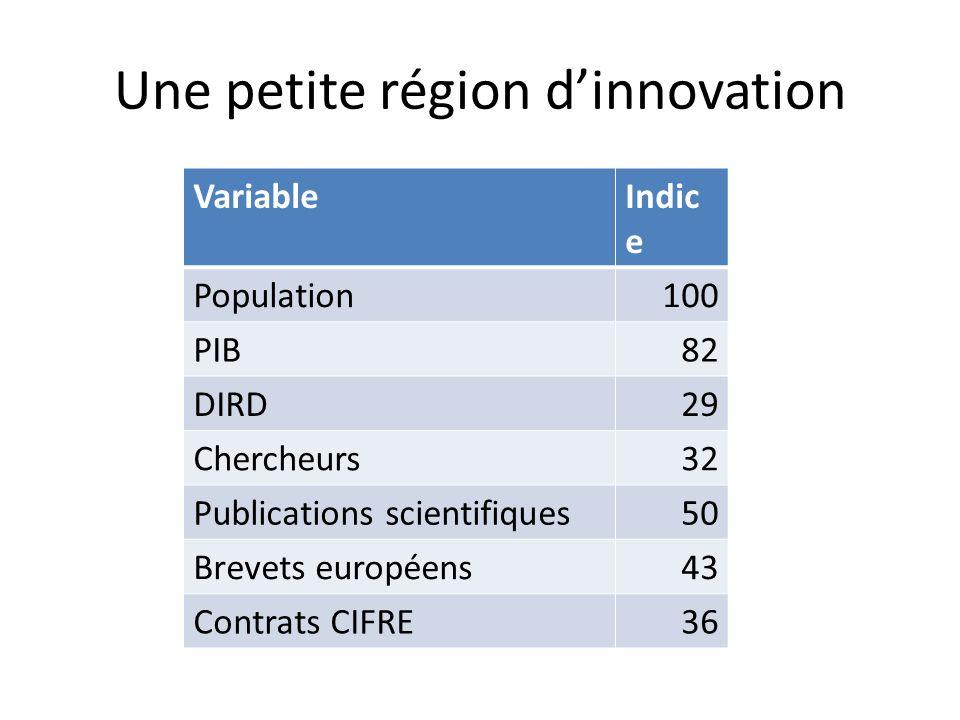Une petite région dinnovation VariableIndic e Population100 PIB82 DIRD29 Chercheurs32 Publications scientifiques50 Brevets européens43 Contrats CIFRE36