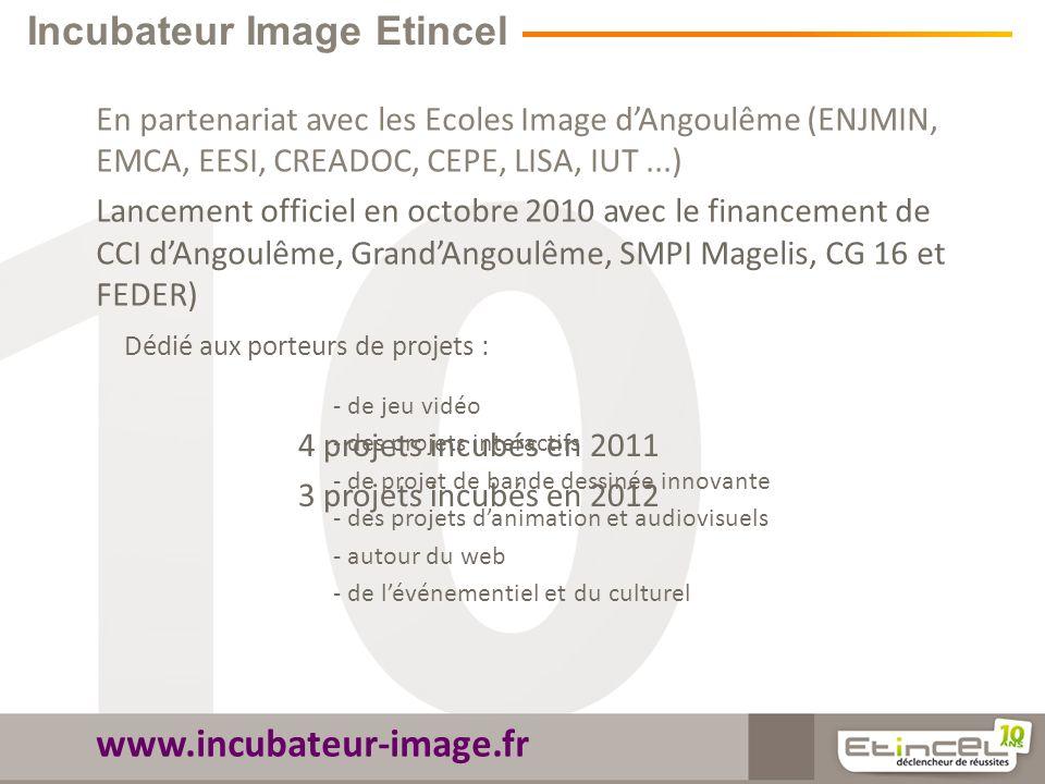 Incubateur Image Etincel En partenariat avec les Ecoles Image dAngoulême (ENJMIN, EMCA, EESI, CREADOC, CEPE, LISA, IUT...) Lancement officiel en octobre 2010 avec le financement de CCI dAngoulême, GrandAngoulême, SMPI Magelis, CG 16 et FEDER) www.incubateur-image.fr Dédié aux porteurs de projets : - de jeu vidéo - des projets interactifs - de projet de bande dessinée innovante - des projets danimation et audiovisuels - autour du web - de lévénementiel et du culturel 4 projets incubés en 2011 3 projets incubés en 2012