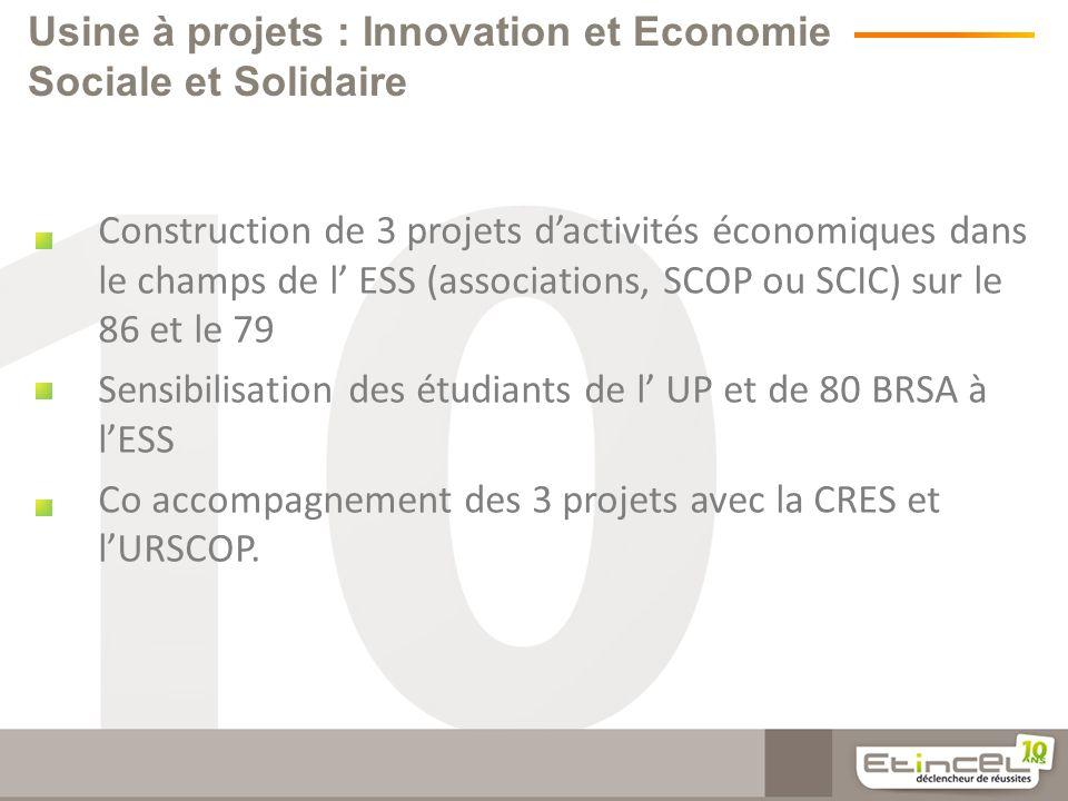 Usine à projets : Innovation et Economie Sociale et Solidaire Construction de 3 projets dactivités économiques dans le champs de l ESS (associations, SCOP ou SCIC) sur le 86 et le 79 Sensibilisation des étudiants de l UP et de 80 BRSA à lESS Co accompagnement des 3 projets avec la CRES et lURSCOP.