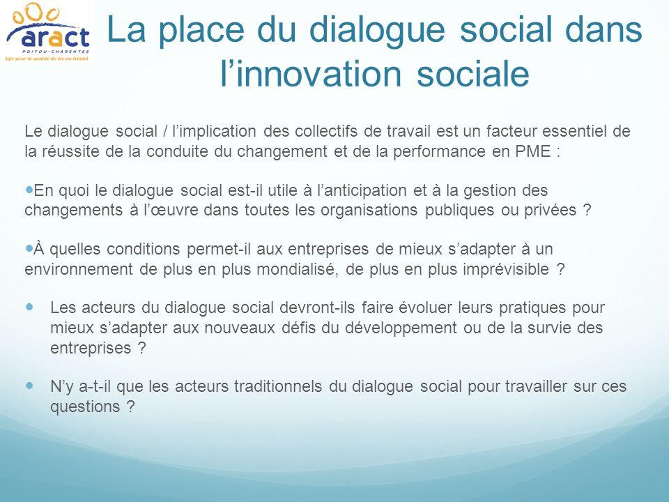 La place du dialogue social dans linnovation sociale Le dialogue social / limplication des collectifs de travail est un facteur essentiel de la réussi