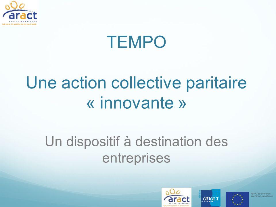 TEMPO Une action collective paritaire « innovante » Un dispositif à destination des entreprises