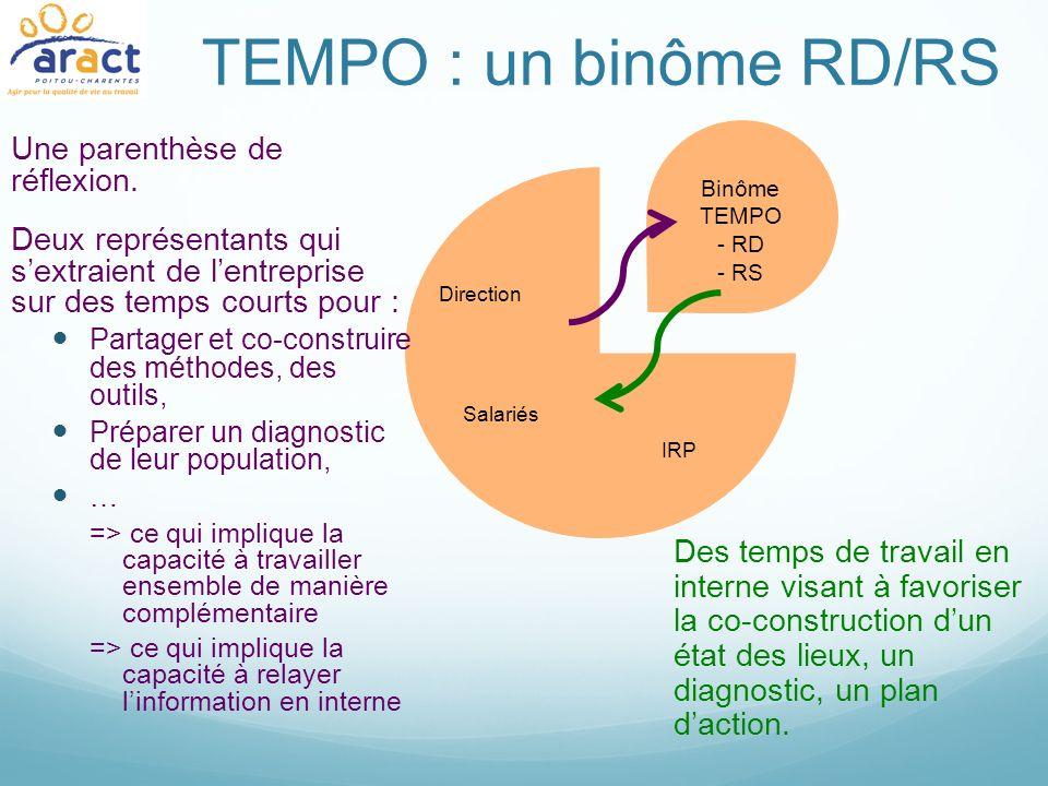 TEMPO : un binôme RD/RS Des temps de travail en interne visant à favoriser la co-construction dun état des lieux, un diagnostic, un plan daction. Binô